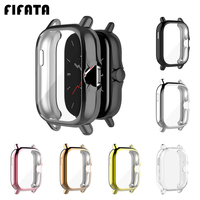 FIFATA For Xiaomi Huami Amazfit GTS 2 / 2e Case Soft Plated TPU Full Screen Protective Cover Frame Shell For GTS2/2e Smartwatch