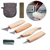 4 pçs conjunto de ferramentas de escultura em madeira cinzeladura faca para corte de madeira básica diy ferramentas e facas de detalhe profissional no rolo de ferramenta|Cinzel| |  -