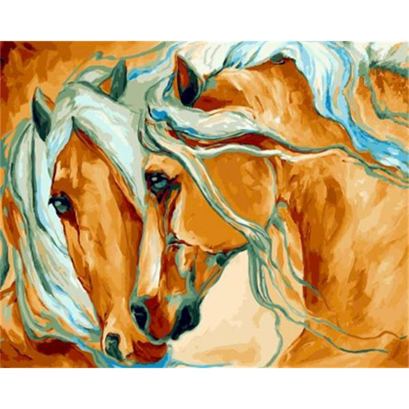 Couples the Horse DIY Paint by Number Kits for Adults Oil Painting by Numbers on Canvas Acrylic Paint Wall Art Picture Art Gift-0