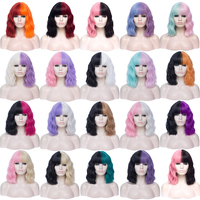 MSIWIGS Women`s Black and White Wig Short Curly Synthetic Cosplay False Anime Wigs Ombre Two Tone Pink Blue Red Pueple 20 Colors