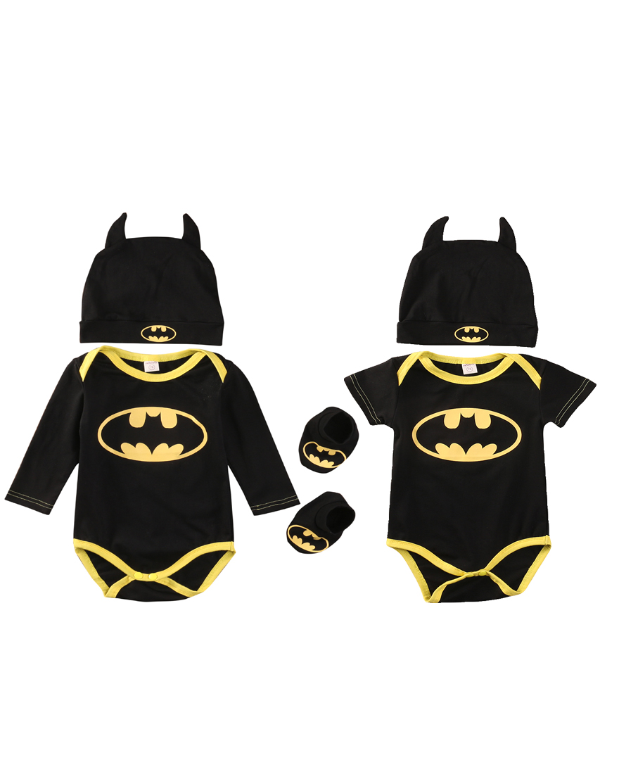 Newborn Baby Boys Batman Cotton Rompers+Shoes+Hat 3Pcs Outfit Clothes Cotton Set