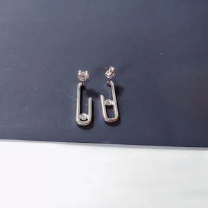 Image 3 - Sljely Fashion Solid 925 Sterling Zilver Goud Kleur Roze Veiligheidsspeld Stud Oorbellen Met Bewegende Zirkonia Steen Vrouwen Merk Sieraden