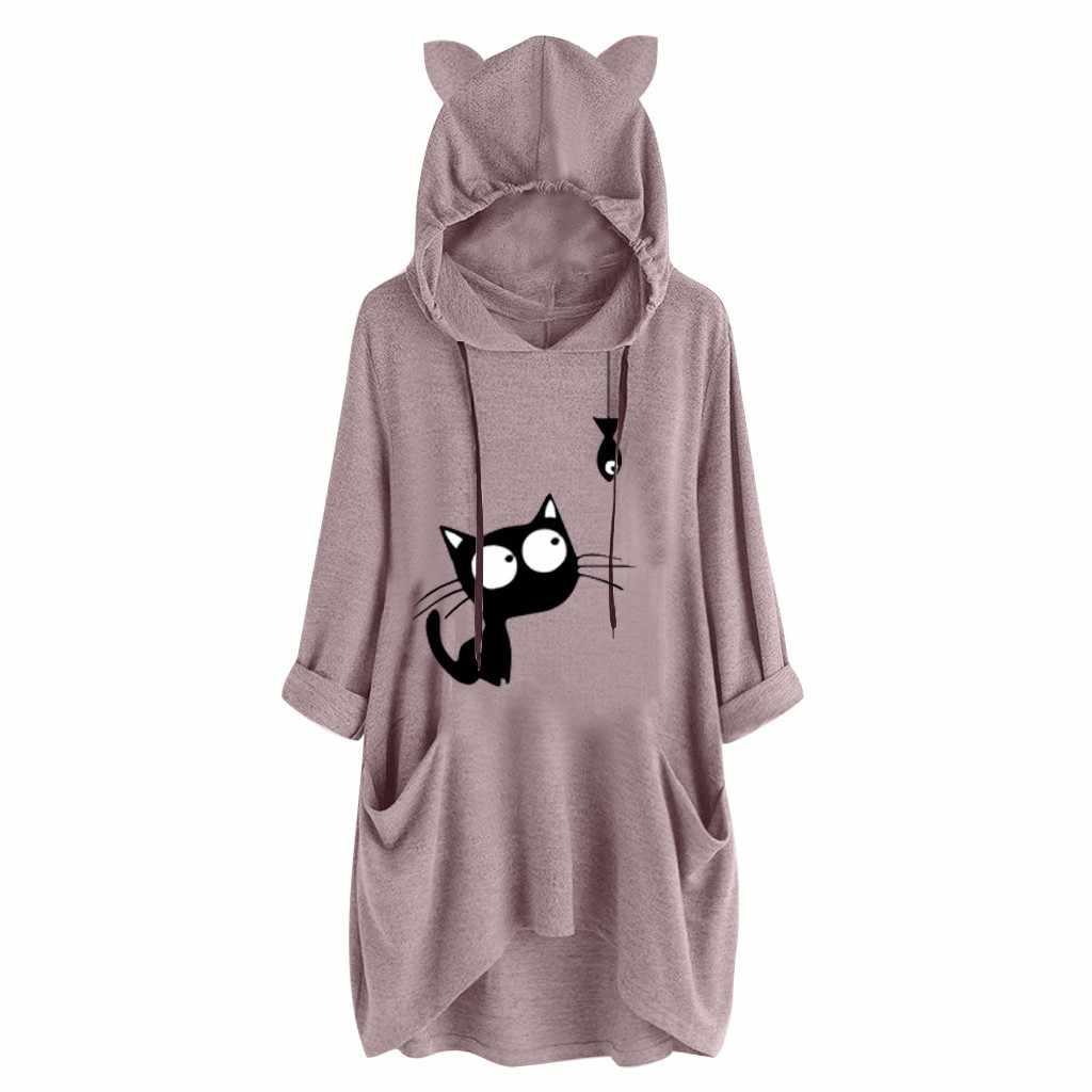 Vrouwen Casual Print Kat Oor Hooded Shirts Womens Tops En Blouses Lange Mouwen Pocket Onregelmatige Top Plus Size Blouse Shirt