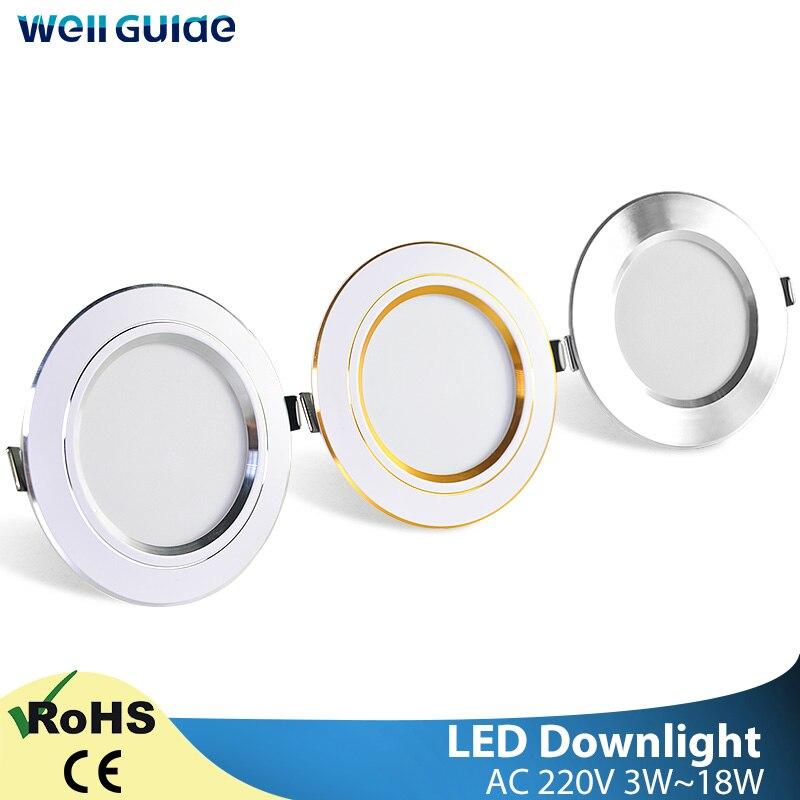 Downlight 3W 5W 9W 12W 15W 18W Spot led downlight gümüş beyaz altın Ultra ince AC220V alüminyum yuvarlak gömme LED Spot aydınlatma