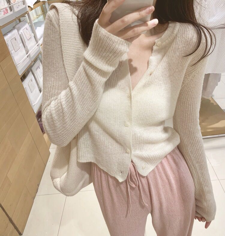 New Thin Oversize Women's Sweaters Autumn Winter Vintage Buttons O Neck Cardigans Single Breasted Long Sleeve Loose Cardigan