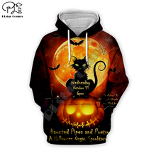 Pumpkin evil black cat print Men 3d Hoodies Halloween Christmas Sweatshirt tshirt zipper casual pullover women unisex Tracksuit цена и фото