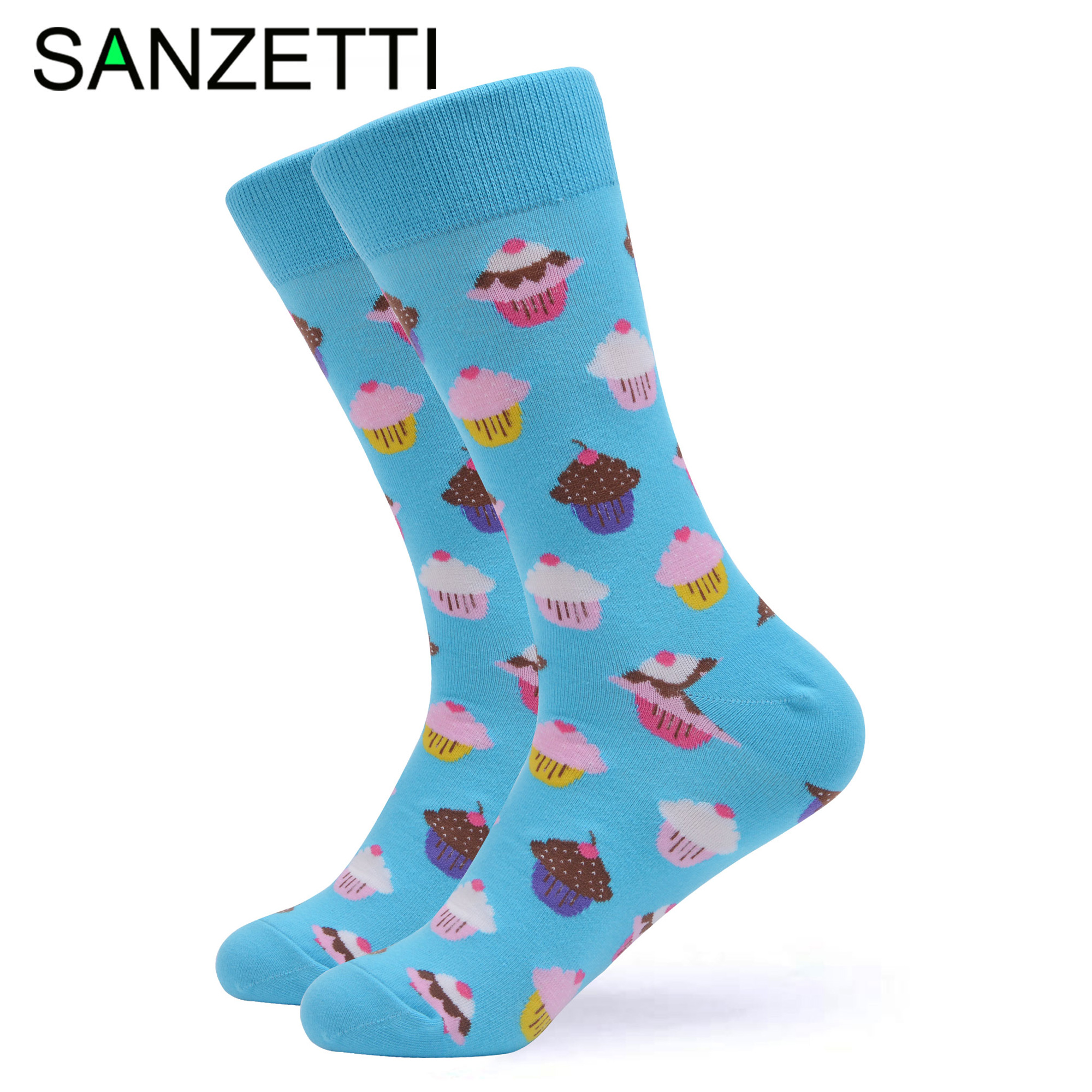 SANZETTI 1 Pair Colorful Bright Women Socks Novelty Combed Cotton Cute Party Cake Coffee Pattern Gifts Wedding Dress Happy Socks