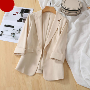 2021 New Summer Fashion Single Button Office Ladies Formal Suit Blazers Female Loose Casual Pockets Outwears  Black White 1