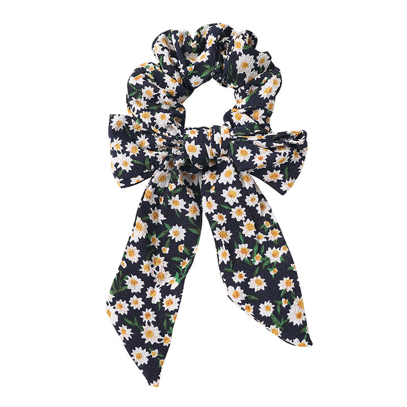 New Floral Printed Chiffon Bow Scrunchies Elastic Knotted Hair Ties For Girls Women DIY Ponytail Hair Bands For Hair Accessories