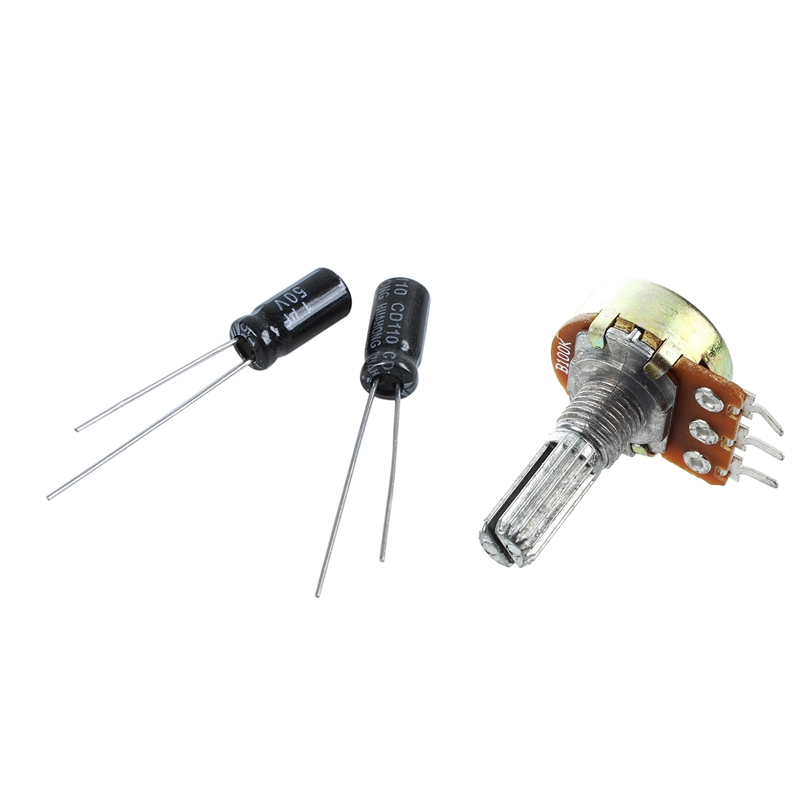 10Pcs 1Uf 50V 105C Radial Electrolytic Capacitor 5X11Mm & 5Pcs 100K Ohm 3 Terminals Rotary Shaft Potentiometer