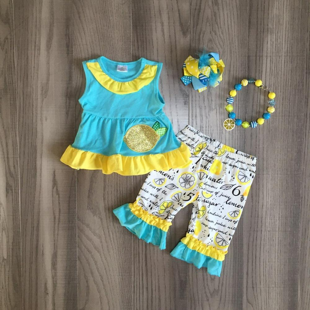 Baby Girl Girls Summer Capri Outfits Girl Gold Sequin Lemon Blue Top Children Ruffled Outfits With Accessories
