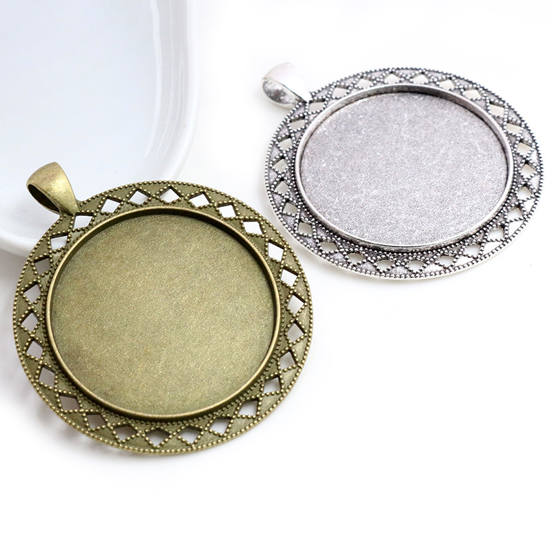 5pcs/lot 35mm Inner Size Antique Bronze And Silver Colors Vintage Flower Style Cabochon Base Setting Charms Pendant