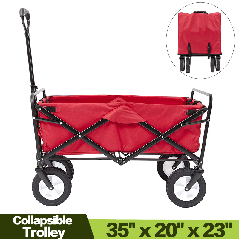 Collapsible Folding Garden Outdoor Park Utility Wagon Picnic Camping Cart with Replaceable Cover (Standard Size 8 Wheels) image
