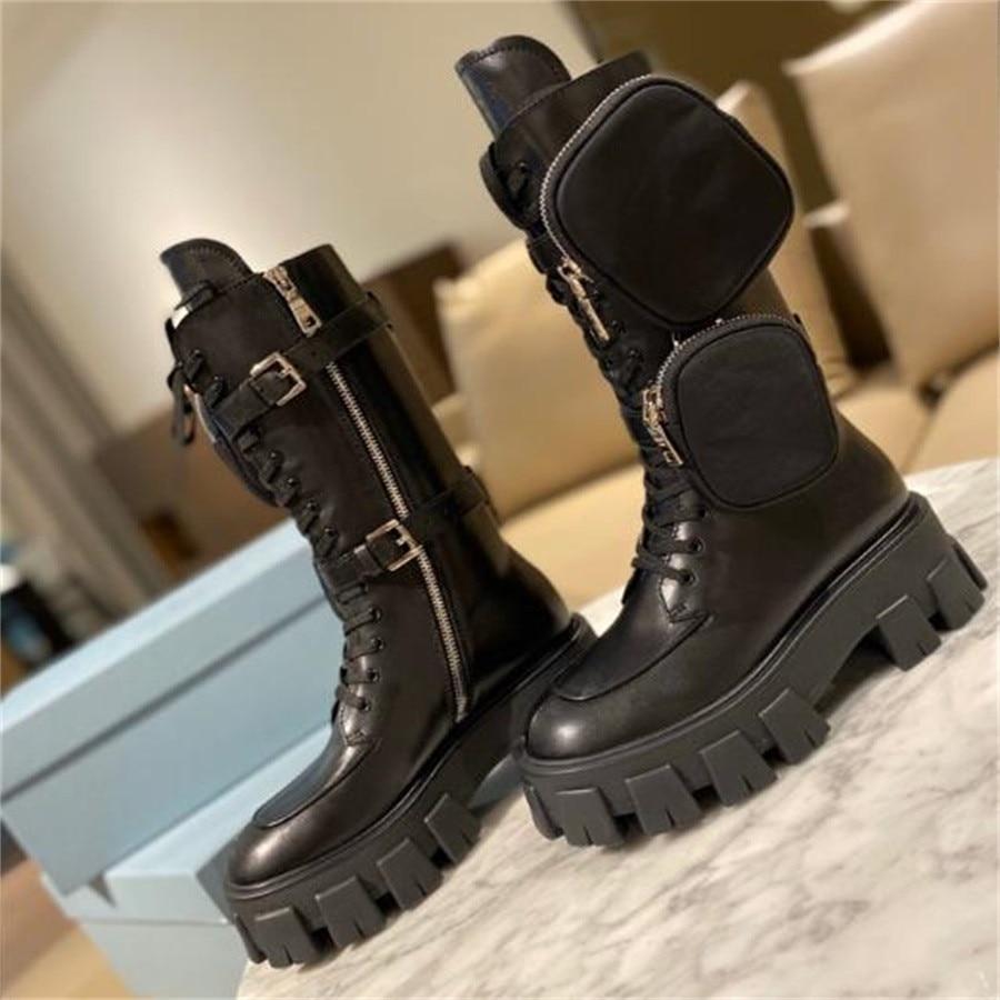 Женские мотоциклетные ботинки в стиле панк с карманами, женские шикарные брендовые панковские ботинки на увеличенной платформе, женская че...