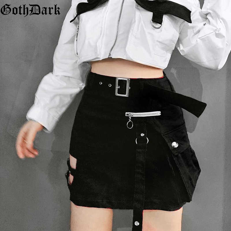 Goth Dark Solid Black Patchwork Hollow Out Skirts For Women Gothic Summer 2019 Hole Grunge Eyelet Zipper Skirt Fashion Punk