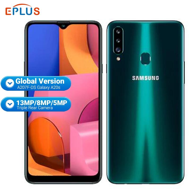 Мобильный телефон samsung Galaxy A20S с глобальной версией, 3 ГБ, 32 ГБ, A207F/DS, 4000 мАч, Восьмиядерный процессор Snapdragon, 6,5 дюйма, 13 МП, тройная камера, телеф...