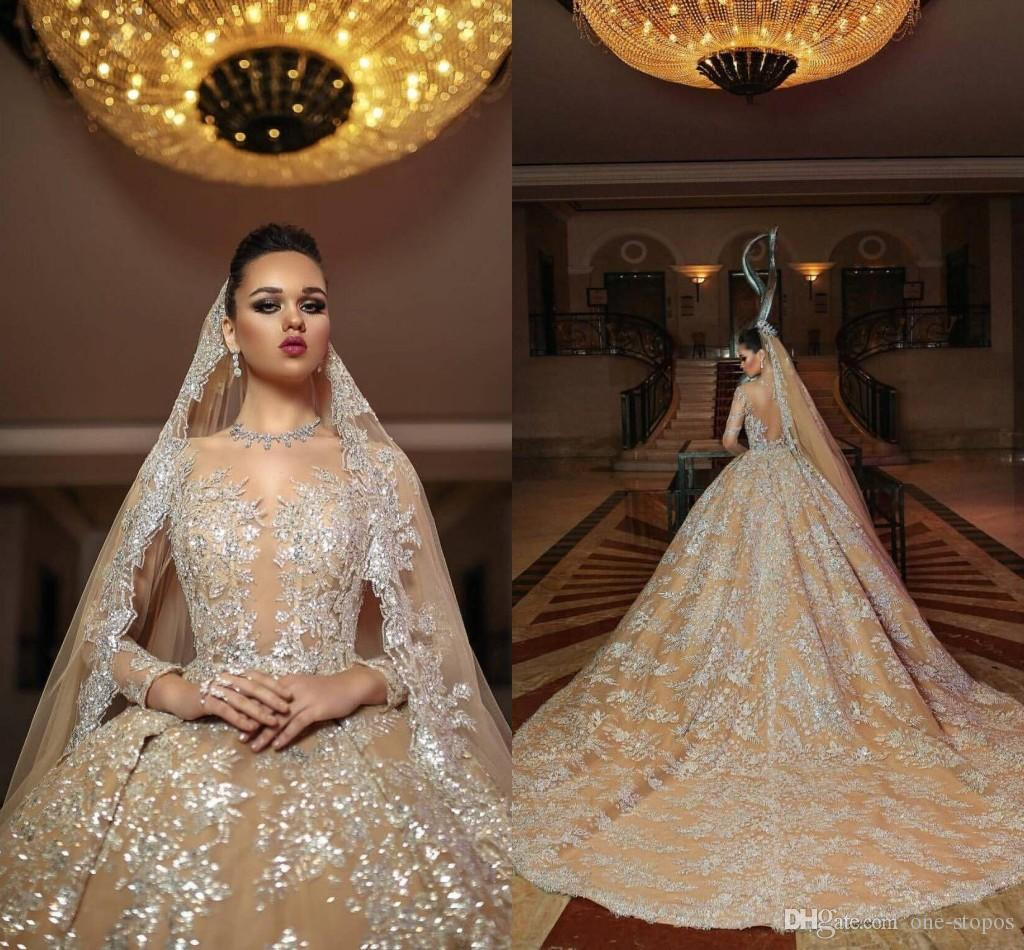 Applique Long Sleeves A Line Luxurious Wedding Gowns 2018 Jewel Sweep Train Tulle Champagne Custom Made Wedding Dresses