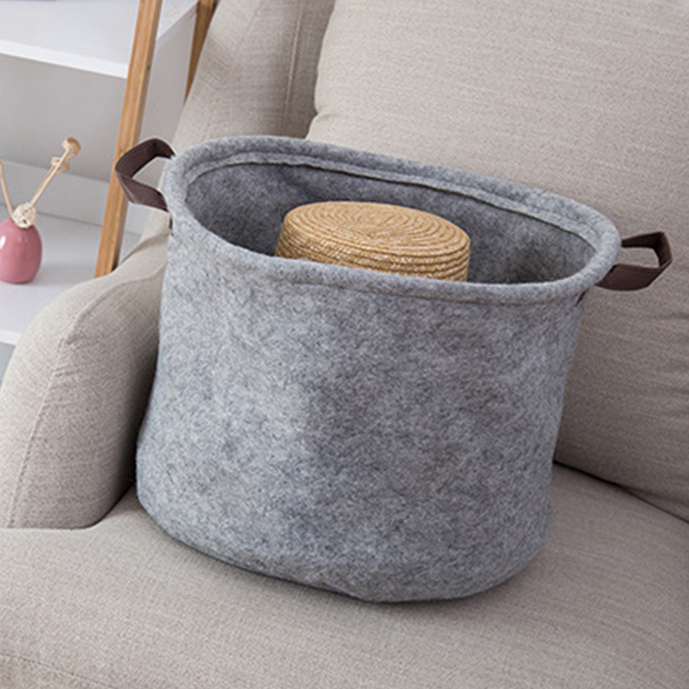 Collapsible Artificial Felt Bag Large Capacity Laundry Basket Organizer Storage Home Comfort Durable With Handles Portable