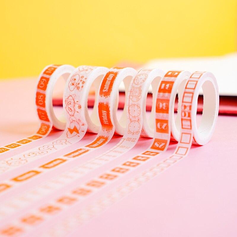 Creative Month Week Date Calendar Washi Tape Planner Diy Scrapbooking Sticker Label Masking Tape School Supplies Stationery