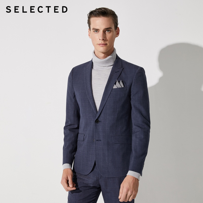 SELECTED Men's Slim Fit Checked Jacket Business Casual Blazer SIG|42015X503