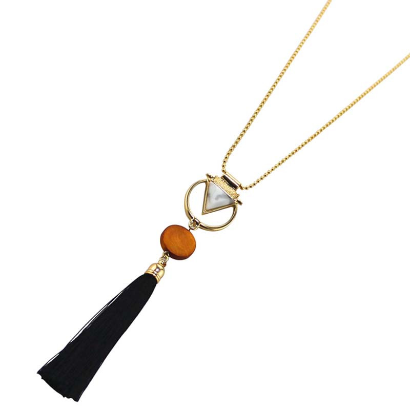 Free Shipping Fashion Ladies Jewelry 2017 New Geometric Modeling Metal Combination Pendant Girls Long Section Tassel Necklace