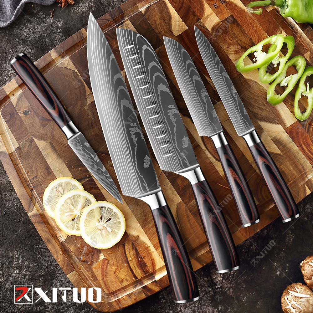 Ultimate SaleXITUO Knives-Tool Slicing Chef-Knife Cleaver Laser Damascus-Pattern Utility Japanese