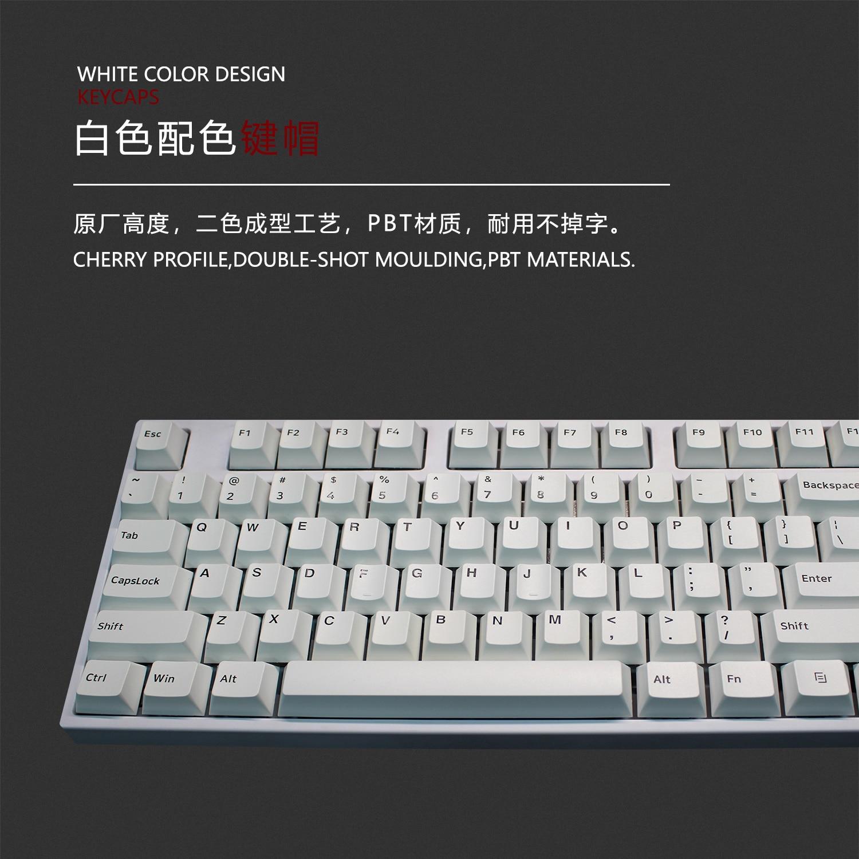Juego de teclas de doble disparo PBT para teclado mecánico MX Switch, diseño minimalista, Color blanco, 1 Juego
