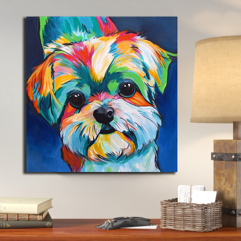 >OUCAG Cute Dog <font><b>Watercolor</b></font> Painting Modern Pictures Wall Art Cuadros Poster and Print Painting Graphic <font><b>Home</b></font> Decor for Living Room