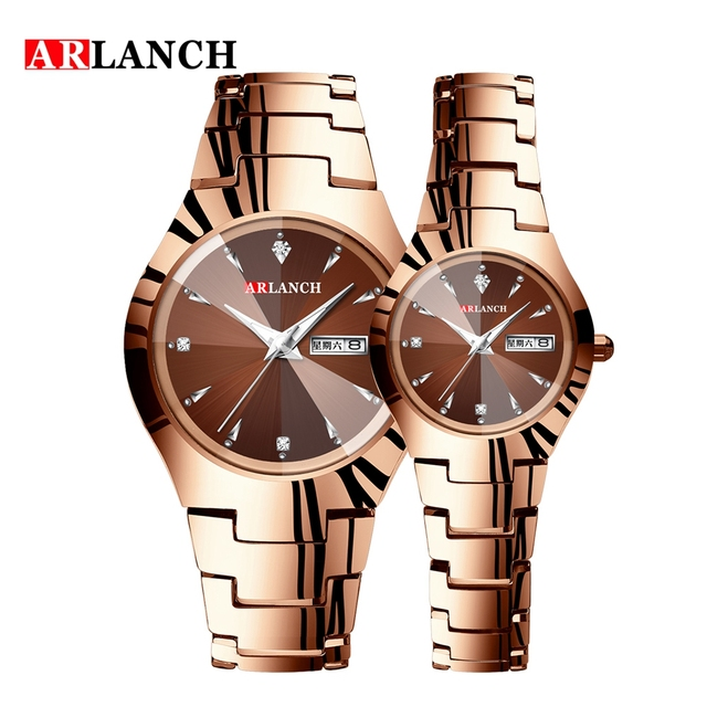 Couple Watch Men and Women Rose Gold Quartz Watch Classic Unisex Stainless Steel Lover's Wrist Watches Christmas Valentine Gifts