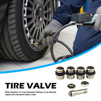 Samochody motocykle ciężarówki rowery zestaw 4 uniwersalnych montażu podtynkowego Chrome metalowy samochód koło automatyczne opona zawory tanie i dobre opinie VODOOL CN (pochodzenie) brass Valve Stem Car Tyre Tire Valve Stems silver set of 4