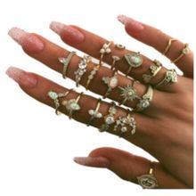 2021 creativa anillos de moda oferta especial conjunto de anillos de unión de 19 de Retro hueco en forma de anillo de Set combinado