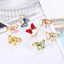 Vrouwen Meisje Glas Kristal Vlinder Ring, Gouden Cocktail Ring, Verstelbare, Maat Verstelbaar, Sieraden Gift