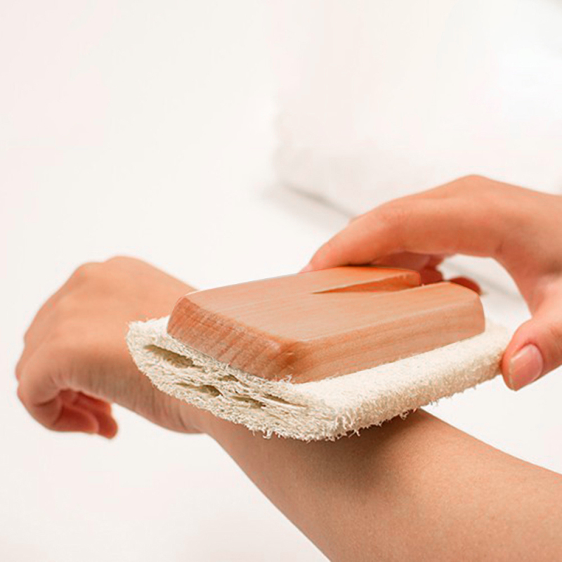 Натуральный люфа ванна щетка длинная ручка деревянная ванна щетка досягаемость спина тело душ спа кожа массаж скрабер ванная аксессуары