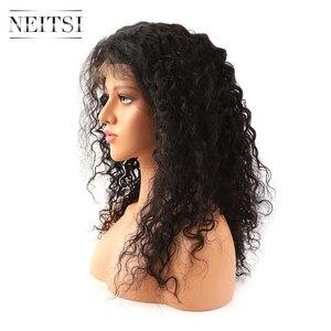 """Image 2 - Neitsi Lockige Spitze Front Menschliches Haar Perücken 100% Remy Haar Vor Gezupft Natürliche Haaransatz 14 """" 22"""" 150% dichte Mit Baby Haar"""
