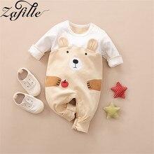 ZAFILLE Baby Romper Cotton Long Sleeve Cute Cartoon Bear Jumpsuit For Newborn