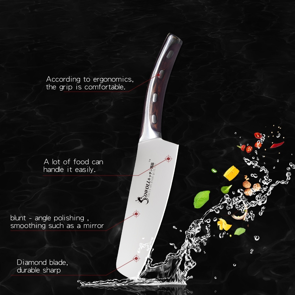4Cr13 Chef Knife 7 inch Chinese Kitchen Knives Meat Fish Vegetables Slicing Knife Super Sharp Stainless Steel Kitchen Knife Set 4