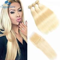 Сапфир 613 медовый блонд пряди с закрытием бразильские Remy прямые человеческие волосы вплетаемые 613 пряди с закрытием бесплатная доставка