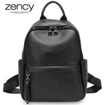 Mochila Zency de gran capacidad para mujer hecha de cuero genuino estudiante estilo pijos Schoolbag de gran calidad mochila negra verde