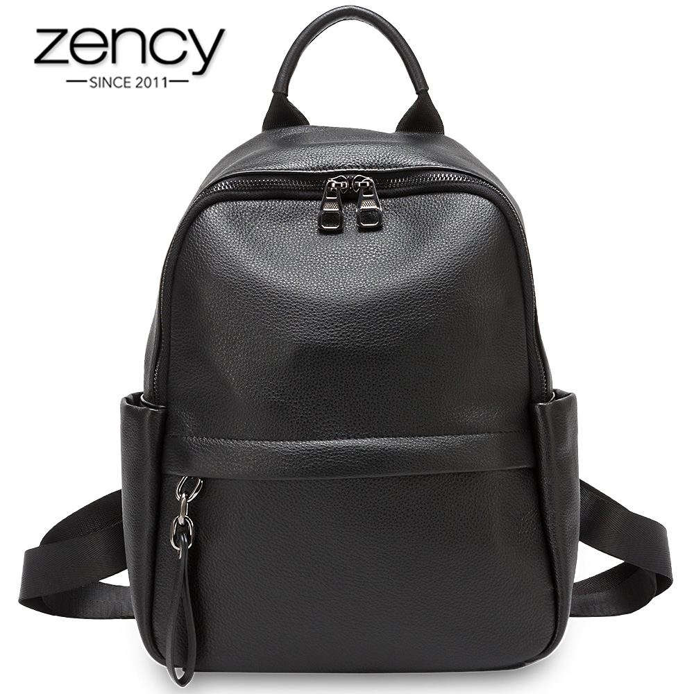 Zency Large Capacity Women Backpack Made Of Genuine Leather Preppy Style Student's Schoolbag High Quality Knapsack Black Green