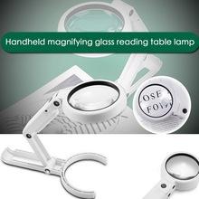 5X11X szkło powiększające podwójne zastosowanie lampa stołowa Super jasny stojak antypoślizgowe ręczne 8 LED proste uwierzytelnienie do naprawy biżuterii tanie tanio Urijk Handheld G247191 Led light