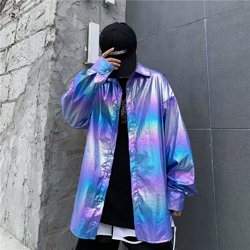 New Come ! Laser Symphony Sunscreen  Jersey Change Color Jacket Iridescent Rainbow Hologram Shirt Blouse Coat Hip Hop Casul BF