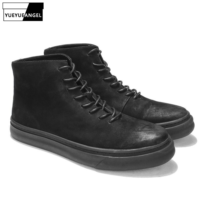British Retro Men Cow Suede Leather Motorcycle Biker Ankle Boots Fashion Round Toe Platform High Top Casual Shoes Safety Boots