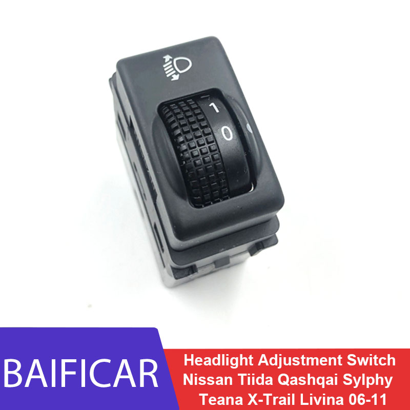Baificar marca novo interruptor de ajuste do farol para nissan tiida qashqai sylphy teana x-trail livina geniss 2006-2011