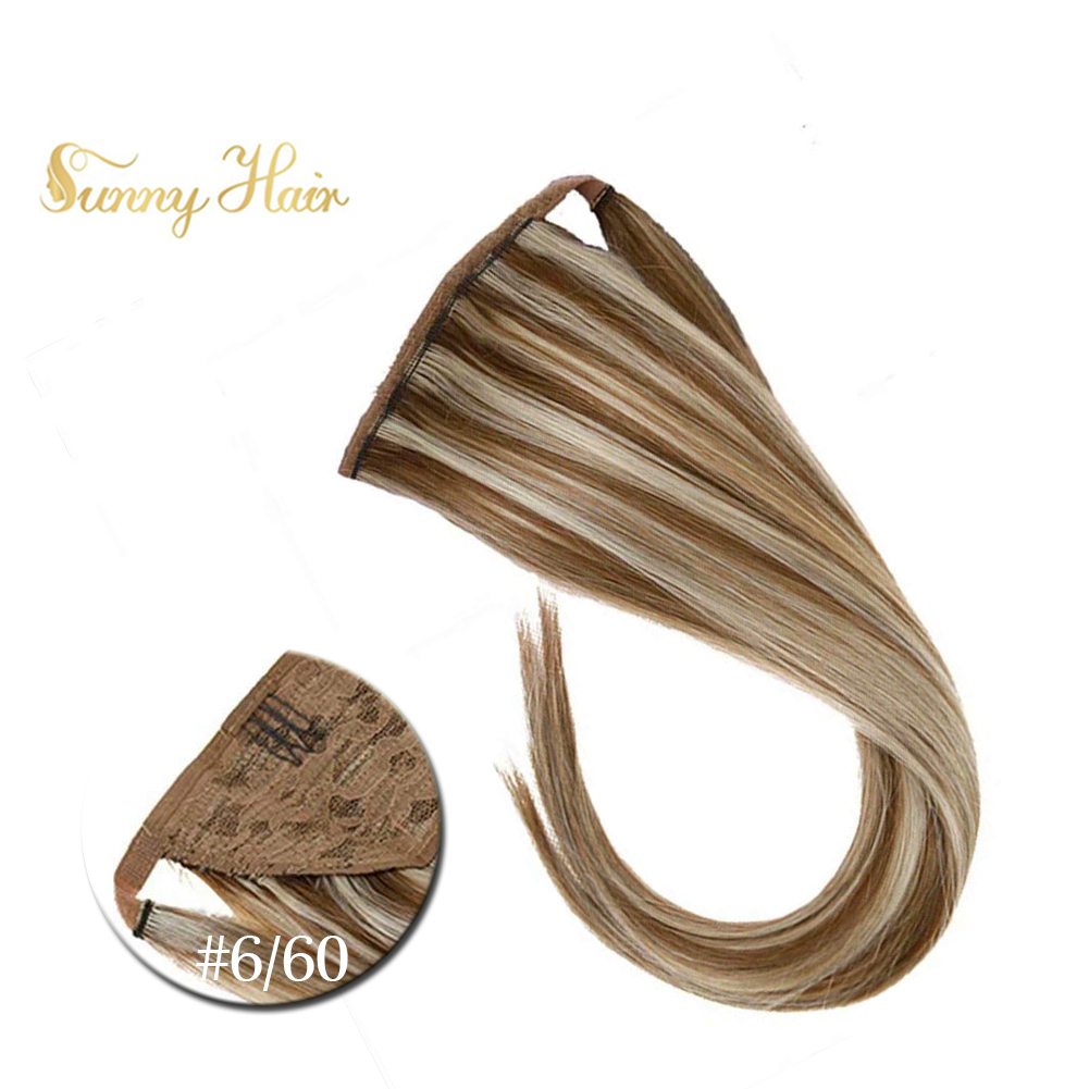 VeSunny Ponytail Hair Extensions Wrap Around Magic Tape With Comb 100% Real Human Hair 80gr Highlights Brown Mix Blonde #6/60