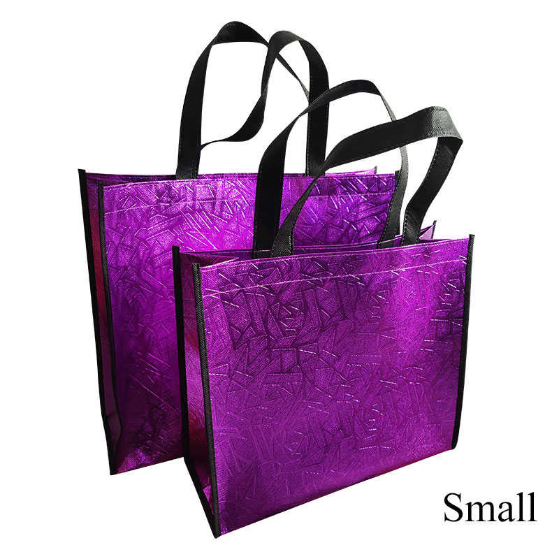 Laser Reusable Shopping Bag Solid Color Eco Tote Bag Large Capacity Waterproof Fabric Non-woven Bag Storage Handbag Wholesale