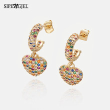 Mode Zirkonia regenbogen Herz Ohrringe Mode Bunte Cz Kristall Liebe Ohrringe Für Frauen Korean Schmuck
