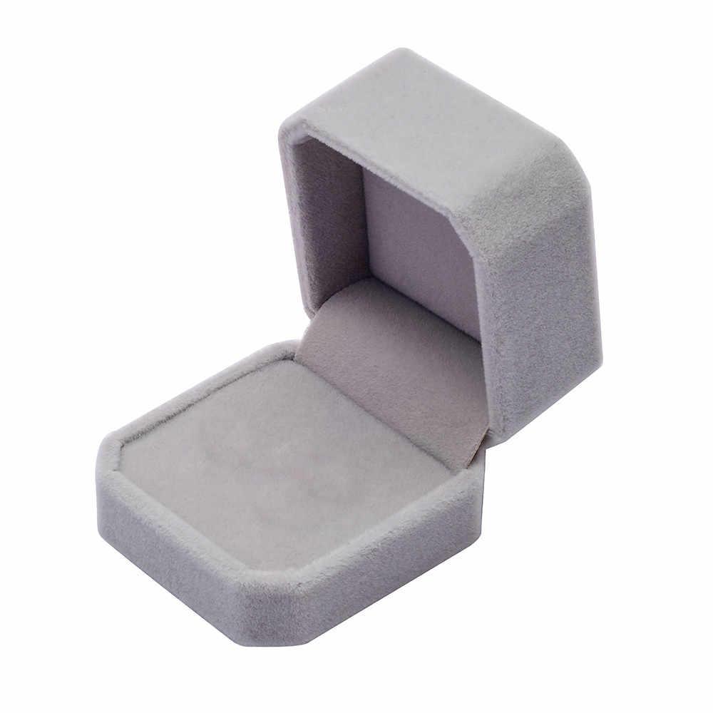 Квадратные Свадебные бархатные серьги кольцо коробка выставочная витрина для