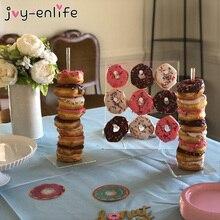 Şeffaf Donut duvar standı halka tutucu bebek duş çocuk doğum günü dekor çörek parti dekorasyon düğün olay parti malzemeleri