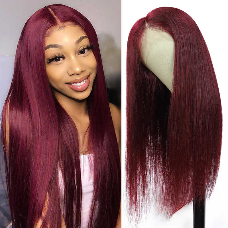 99J Redwine Lace Front Human Hair Wigs SOKU Brazilian Straight Remy Human Hair Wigs For Black Women 13x4 Lace Front Wig