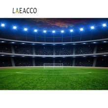 Laeacco Soccer Backgrounds Goal Stadium Spotlight Green Grass Child Birthday Portrait Photography Backdrops Photocall Studio
